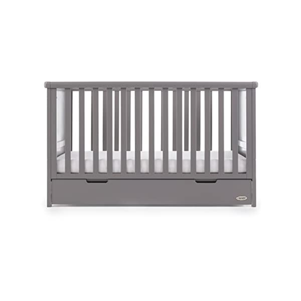 Obaby Belton Cot Bed, Taupe Grey Obaby Adjustable 3 position mattress height Bed ends split to transforms into toddler bed Includes matching under drawer for storage 5
