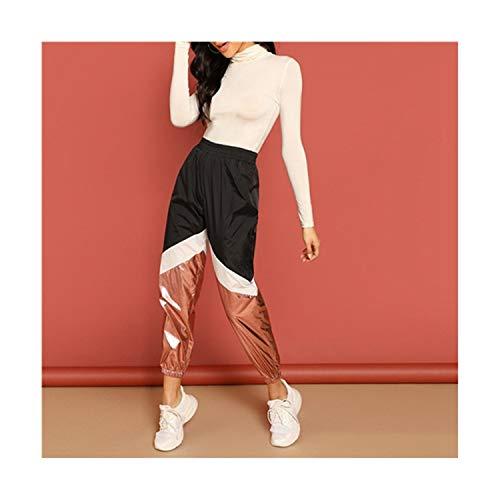 Okayit Colorblock Contrast Metallic Pants Elastische Taille Frauen Activewear Lose Jogginghose Freizeithosen Und Hosen Colorblock Track Pant