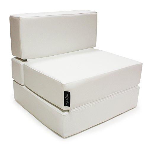 MiPuf - Sofá Puf Cama Plegable - 190x80x20 cm - Tejido Polipiel alta resistencia - Doble costura - Interior Foam Alta densidad - Blanco - 4 años de Garantía