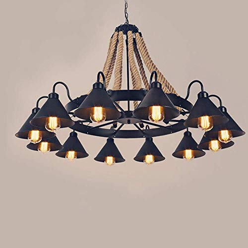 Xiao Yun ☞ Loft Vintage Hanf Unterputz Deckenleuchte Lampe Kronleuchter Kreative E27 Industrielle Schmiedeeisen Dekoration Beleuchtung für Bekleidungsgeschäft Restaurant (Größe: 12-Lights) ☜ - Stahl Zwölf Light Kronleuchter