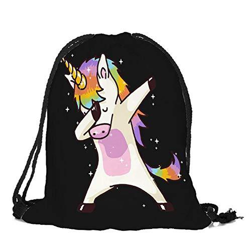 Party Favors Supplies Taschen für Mädchen, 3D-Druck Kordelzug Rucksack Schultertasche Sporttasche Kinder Kordelzug Rucksack mit niedlichen Regenbogen- und Einhornmustern(H18) ()