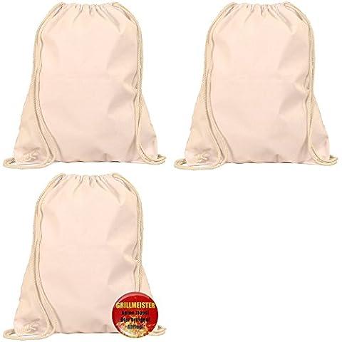 regalo Manteles de algodón bolsa unbedruckt + por 1botón de regalos a elegir: regalo Ideas para Kids, adolescente, Él y para ella con temas Button 3er Set - 3 x Beutel NATUR + 1 x
