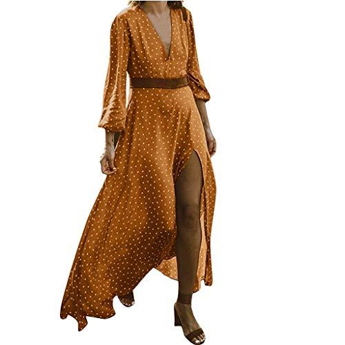 TEFIIR T-Shirt für Damen, Oktoberfest, Leistungsverhältnis Beiläufige Aufgeteilte Tägliche V-Ansatz Punkt Gedruckte Feiertags-Reizvolle Partei Langes Kleid Freizeit, Dating, Strandurlaub -