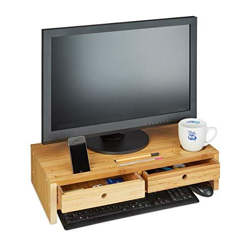 Relaxdays Monitorständer Bambus, Bildschirmerhöhung mit 2 Schubladen & Fächern, Bildschirmständer HBT 14x60x30cm, Natur, Standard