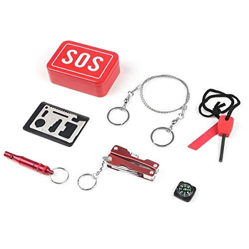 Outdoor Survival Kits, 6 in 1 Mehrzweck-Notfall-Camping-Ausrüstungskasten mit Kompass-Überlebens-Armband-Zangen-Feuer-Startertaschenlampe - Zoll Geschenk-boxen 6