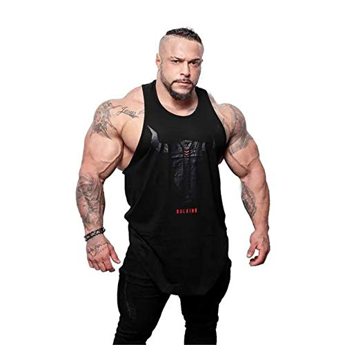 Summer Muscle Fitness Brothers Sports Cotton Print Vest Men ' S Sleeveless Top,Black,XXXL