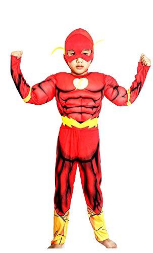 Lovelegis Größe S - 4-5 Jahre - Superhelden-Kostüm und Maske - Muskulöser Busen - Flash für Kinder verkleiden Karneval Halloween ()