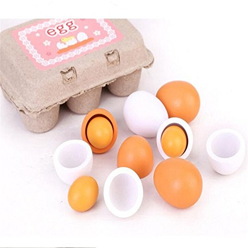 Preisvergleich Produktbild owikar 6PCS Holz Eier Simulation Spielzeug Educational Kids Pretend Play Spielzeug-Set Kinder Vorschul Holz-Eier Eigelb Küche Kochen Lebensmittel Spiel Spielzeug für Kinder Kinder Geschenk