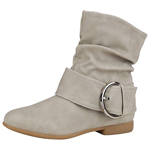 napoli-fashion Damen Stiefeletten Keilstiefeletten Gefütterte Stiefel Schlupfstiefel Wedges Wildleder-Optik Boots Keilabsatz Schuhe Jennika Creme Schnallen