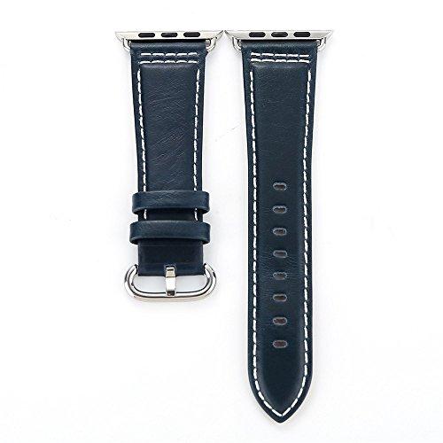 FBGood 38mm Ersatz Uhrenarmband,Unisex Kalbsleder Einzelner Kreis Smart Watch Armband Ersatzband Extra Weiches Lederband Sportarmband für Apple Watch - Garmin-marine-kamera