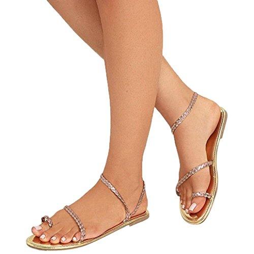 Beikoard promozione della moda sandali donna taco sandali infradito da donna con cinturino basso (oro, 42)