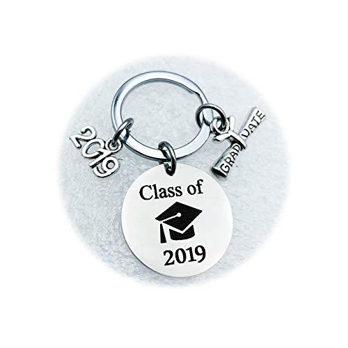 AnazoZ Edelstahl Schlüsselanhänger Round Doktor Hut mit 2019 Anhänger Class of Schlüsselbund Schlüsselring Anhänger Dekoration Silber, mit Kostenlose Gravur