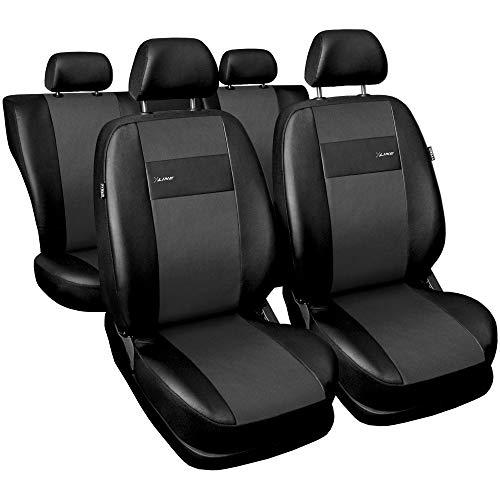 Saferide| Universal Set Kunstleder Grau Sitzbezüge Sitzbezug für Auto Sitzschoner Set Schonbezüge Autositz Autositzbezüge Sitzauflagen Sitzschutz PKW X-Line -