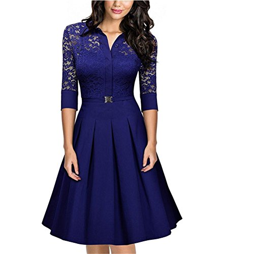 HYHAN Femmes Printemps Et Summer Fashion Sexy Retro Perspective Dentelle Grande Robe (Multi-couleur en option) water blue