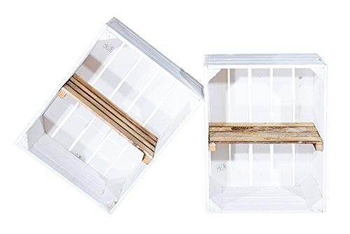 2er Set Weiße Holzkiste mit geflammten Mittelbrett -Quer- Obstkiste in weiß und flambiert für...