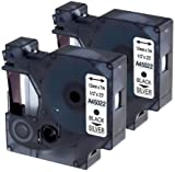 2 Kassetten D1 45022 schwarz auf silber 12mm x 7m Schriftband kompatibel für DYMO LabelManager LM 100, 110, 120P, 150, 155, 160, 200, 210D, 220P, 260, 260D, 280, 300, 350, 350D, 360D, 400, 420P, 450, 450D, 500TS, PC, PC2, PnP, PnP Wireless, LabelPoint LP 100, 150, 200, 250, 300, 350, LabelWriter LW 400 Duo, 450 Duo Beschriftungsgerät