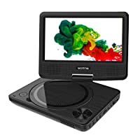 "WONNIE Portable DVD player, 7.5"" DVDs Player for Kids and Car, Swivel Screen Support SD card USB CD DVD with AV IN/OUT Built-in 4 Hours Rechargeable Battery"