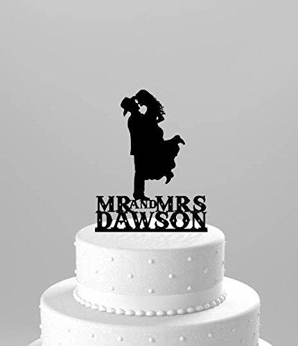Country Western Hochzeit Tortenaufsatz, personalisiert mit Namen, Silhouette Cowboy mit Hut beiden Stiefel tragen, Acryl Kuchen Topper (Tree Topper Western)