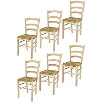 Tommychairs sillas de Design - Set 6 sillas clásicas PAESANA 32 para Cocina, Comedor, Bar y Restaurante, solida Estructura en Madera de Haya lijada, no tratada, 100% Natural y Asiento en Paja