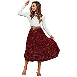 Cikuso Falda Midi Plisada de Lunares de Cintura Alta de Mujer Faldas de Estampado de Cintura Elástica de Las Se?oras Faldas de Gran Columpio Vintage Boho de Playa Rojo M