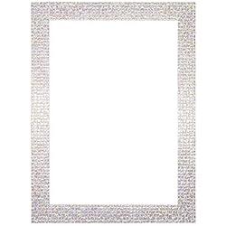Flacher heller/Spiegeleffekt/ Mosaik Bilderrahmen/Foto-/Posterrahmen - Mit Rückseite aus MDF - Bereit zum Aufhängen - Mit bruchsicheren Plexiglas aus Styrol für hohe Klarheit - Perle weiß Glitzer - A3