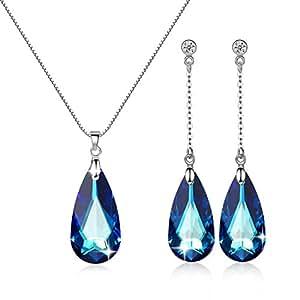 GoSparking Stunning blu cristallo 18K oro bianco placcato in lega di orecchini e del pendente ? regolato con il cristallo austriaco per le donne