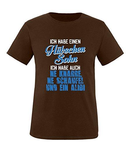 Luckja Ich habe einen hübschen Sohn Herren Rundhals T-Shirt Braun/Weiss/Blau