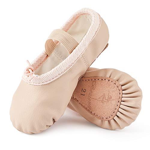 Scarpette da Danza Classica in Pelle Scarpe da Ballerina Ginnastica Ballo Pantofole per Bambina Ragazze e Donna Beige 31