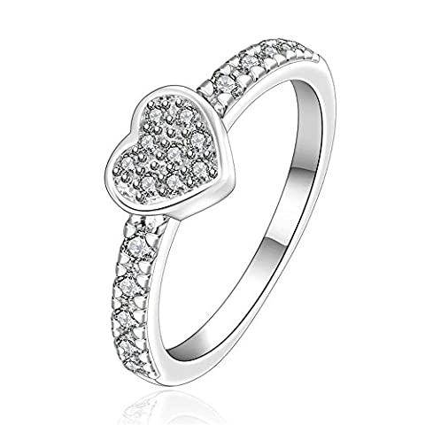 BODYA Jewelry Stunning Heart Shaped Diamond Cut Sona Diamond Solitaire Engagement Ring forever love promise ring