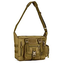 Huntvp Tactical Crossbody Messenger Bag Molle Large Waterproof Laptop Pack Haversack Brown