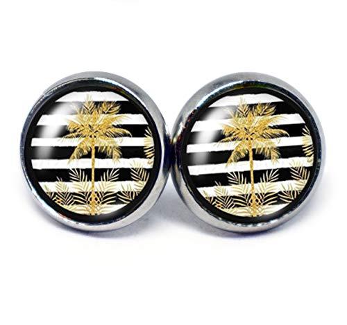 JUANLOWE Palmen Stripes Ohrringe Hawaii Motiv gestreift silberfarben Edelstahl Cabochon Ohrstecker Schwarz Weiß Gold (Hawaii-ohrringe)
