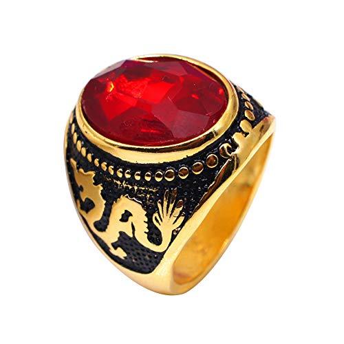 Anillo de dedo para hombre, diseño vintage de dragón ovalado con circonitas, accesorio para fiesta, club de graduación, color rojo