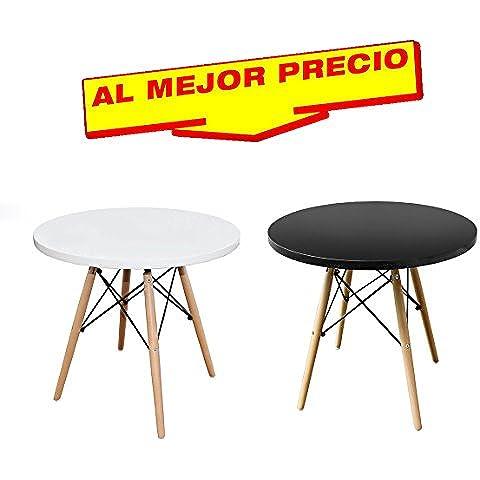 MESA BAJA INSPIRADA EN TOWER WOOD DE MADERA DE HAYA MODELO VANGUARDIA,( DIAMETRO 60 CM , ALTURA 43,5 CM ) (Blanca)