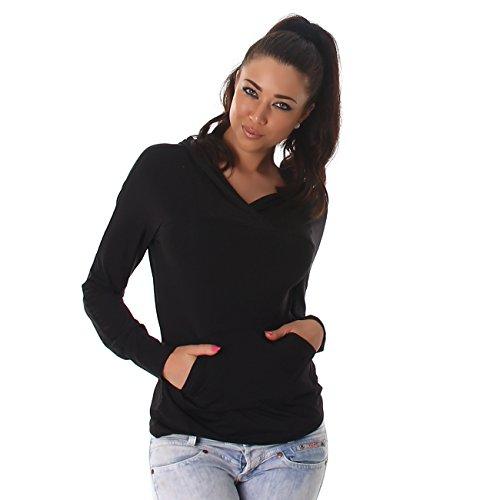Voyelles Damen Shirt Pullover Kapuze Langarm Taschen Sweater Sweatshirt Hüftlang Hoddie Schwarz
