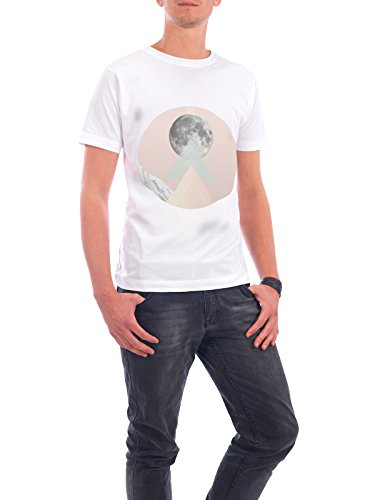 "Design T-Shirt Männer Continental Cotton ""Geo Moon I"" - stylisches Shirt Abstrakt Geometrie von Julia Bruch Weiß"