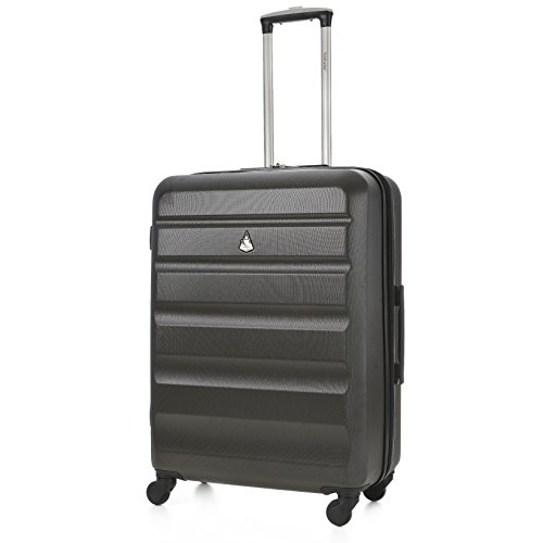 "Aerolite Medium Super Lightweight ABS Hard Shell Travel Hold Check In Luggage Suitcase with 4 Wheels, 25"", Charcoal"