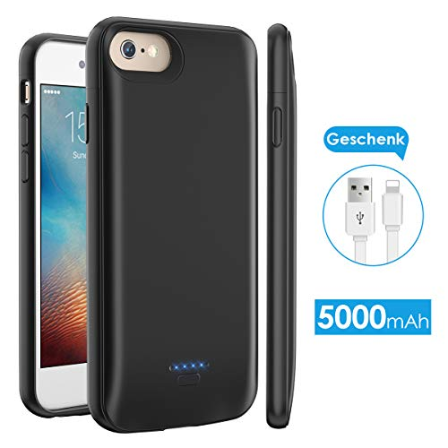 für iPhone 6/6S/7/8, tragbare 5000mAh Battery Case für iPhone 6/6S/7/8 (4,7 Zoll) Akku Case Ladehülle (Schwarz) ()
