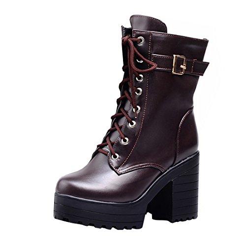 YE Damen Blockabsatz Ankle Boots Plateau High Heels Stiefeletten mit Schnürsenkel und Schnalle...