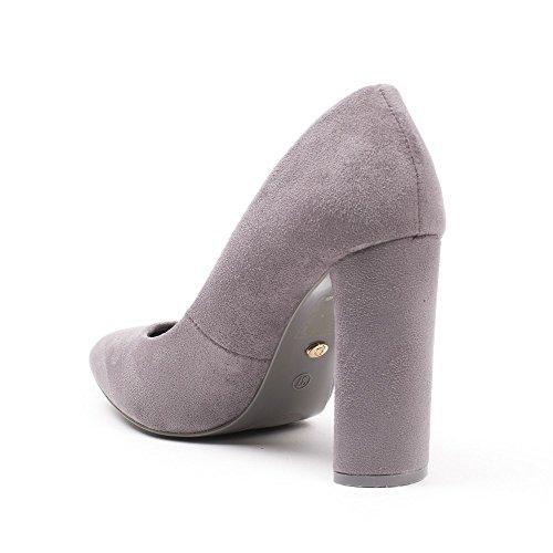 Ideal Shoes - Escarpins à talon carré effet daim Manuela Gris