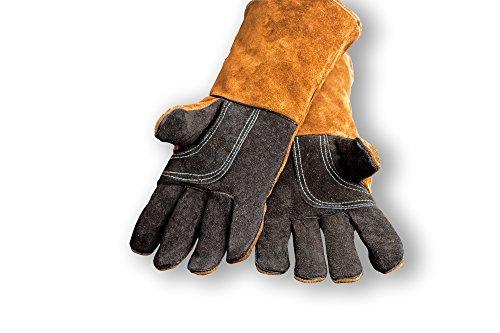 Gants pour cheminée et barbecue, protection contre la chaleur, en cuir véritable, PAIR of GLOVES