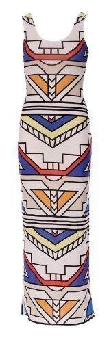 Fast Fashion Damen Maxi-Kleid Promi Kim Kardashian Azteken Tribal Streifen Weich