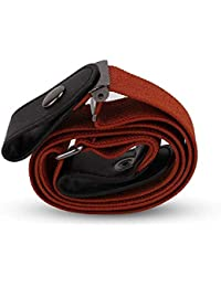 Insense Invisible Women Mens Buckle-Free Elastic Belt, No Buckle Invisible Waist Belt for Jeans Pants Dresses (Brown)