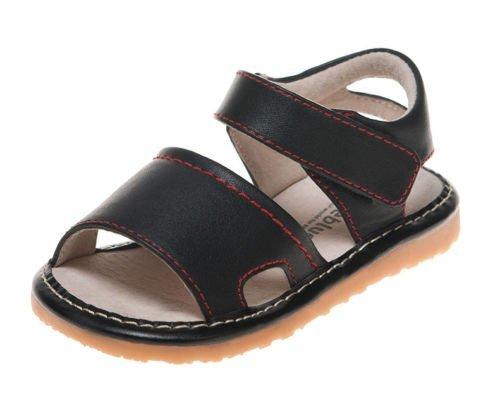 Little blue lamb squeaky chaussures sandales fermeture velcro noir