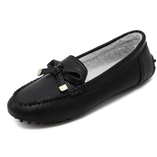 AalarDom Women's Pull-On No-Heel Pu Solid Round-Toe Flats-Shoes with Bowknot, Black, 38 (Pageant Prom Gown)