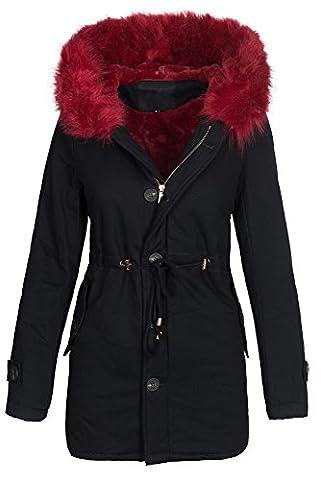 Damen Winter Jacke warme Winterjacke Baumwolle Parka Mantel Buntes Fell B444 [B444-JS-237-Schwarz-Rot-Gr.M]