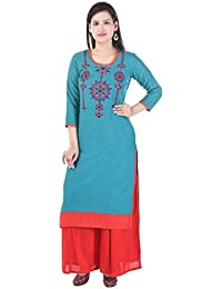 AQUILA Blue Embroidered  Cotton Round Neck Kurti With Pink Solid Rayon Palazzo.