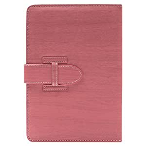DMG Protective 7in Flip Book Cover Case for Iball 3g17 Tablet (Pink) + Black Stereo Earphone with Mic and Volume Control