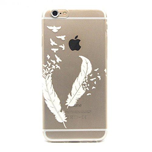 iphone 6 Coque / iphone 6S (4.7 inch Housse, MYTHOLLOGY Dessin animé Loup 3D Flexible Slim Silicone TPU Transparente Anti-Rayure extrêmement Mince Arrière Housse Etui Blanc Plume