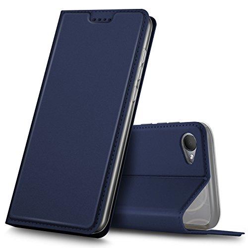 GeeMai HTC Desire 12 Hülle, Premium Flip Case Tasche Cover Hüllen mit Magnetverschluss [Standfunktion] Schutzhülle Handyhülle für HTC Desire 12 Smartphone, Blau