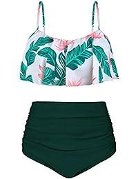 Angerella Damen Niedlich Ruffles Strap Badeanzug Crop Top Flounce Bikini